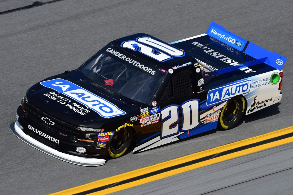 DAYTONA BEACH, FL - FEBRUARY 14: Spencer Boyd, driver of the #20 1A Auto Chevrolet, practices for the NASCAR Gander Outdoor Truck Series NextEra Energy 250 at Daytona International Speedway on February 14, 2019 in Daytona Beach, Florida. (Photo by Jared C. Tilton/Getty Images) | Getty Images