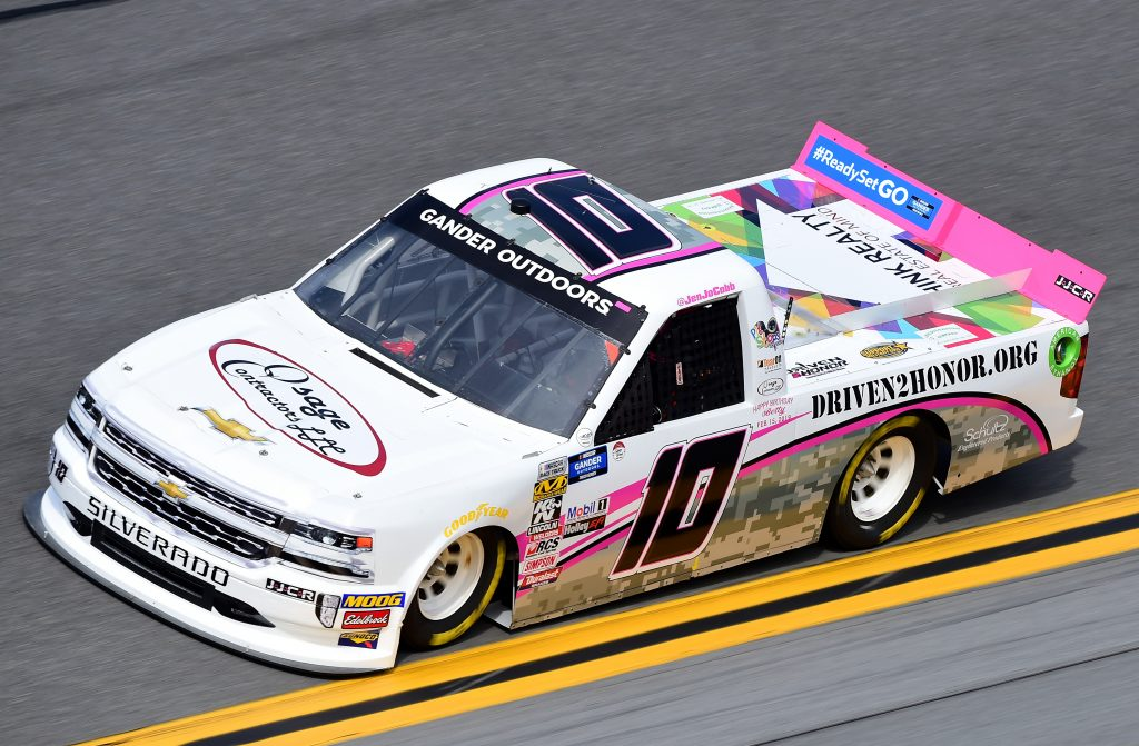 DAYTONA BEACH, FL - FEBRUARY 14: Jennifer Jo Cobb, driver of the #10 Osage Contractors Chevrolet, practices for the NASCAR Gander Outdoor Truck Series NextEra Energy 250 at Daytona International Speedway on February 14, 2019 in Daytona Beach, Florida. (Photo by Jared C. Tilton/Getty Images) | Getty Images