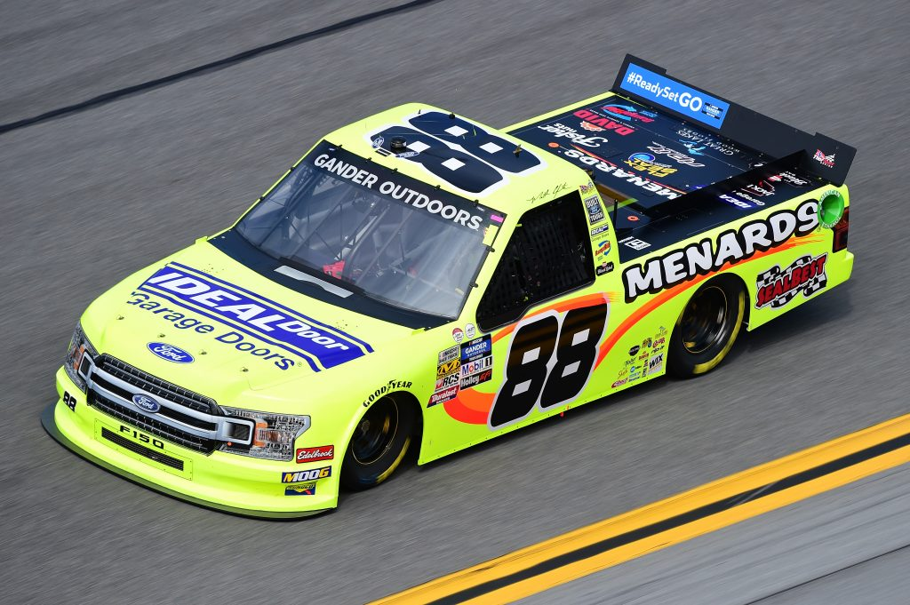 DAYTONA BEACH, FL - FEBRUARY 14: Matt Crafton, driver of the #88 Ideal Door/Menards Ford, practices for the NASCAR Gander Outdoor Truck Series NextEra Energy 250 at Daytona International Speedway on February 14, 2019 in Daytona Beach, Florida. (Photo by Jared C. Tilton/Getty Images) | Getty Images