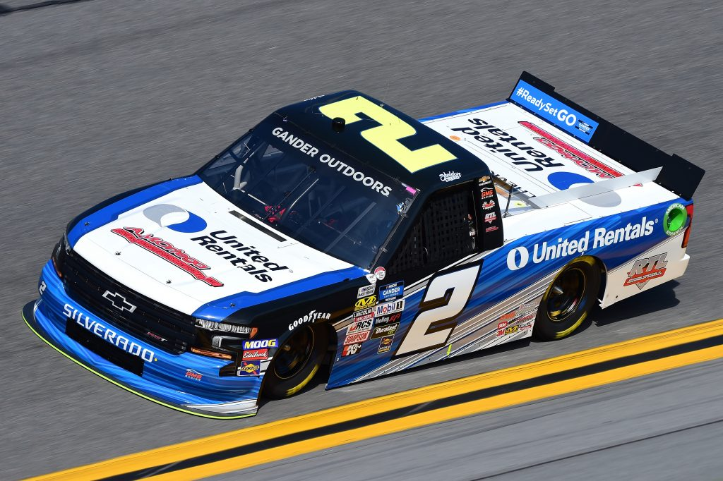 DAYTONA BEACH, FL - FEBRUARY 14: Sheldon Creed, driver of the #2 United Rentals/A.M. Ortega Chevrolet, practices for the NASCAR Gander Outdoor Truck Series NextEra Energy 250 at Daytona International Speedway on February 14, 2019 in Daytona Beach, Florida. (Photo by Jared C. Tilton/Getty Images) | Getty Images