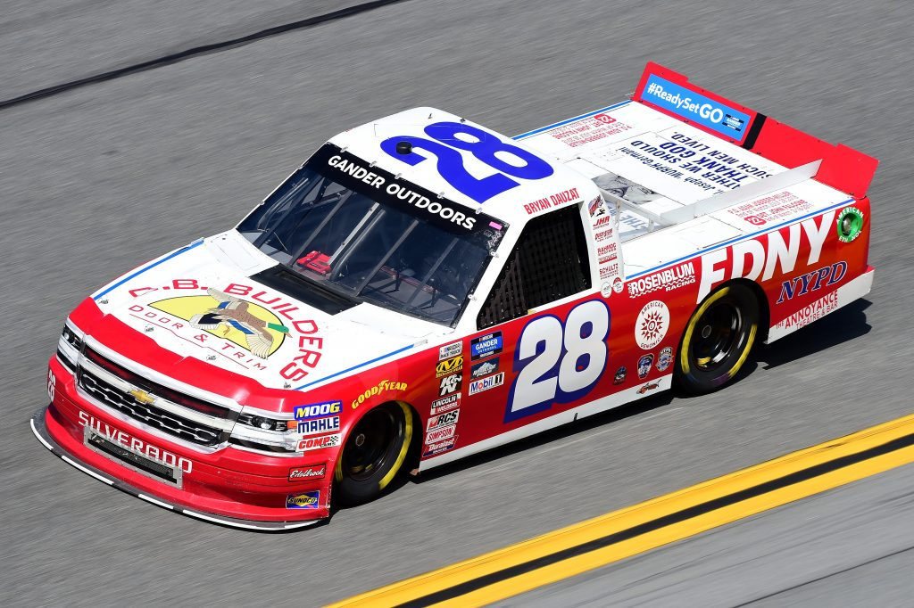 DAYTONA BEACH, FL - FEBRUARY 14:  Bryan Dauzat, driver of the #28 FDNY Chevrolet, practices for the NASCAR Gander Outdoor Truck Series NextEra Energy 250 at Daytona International Speedway on February 14, 2019 in Daytona Beach, Florida.  (Photo by Jared C. Tilton/Getty Images) | Getty Images