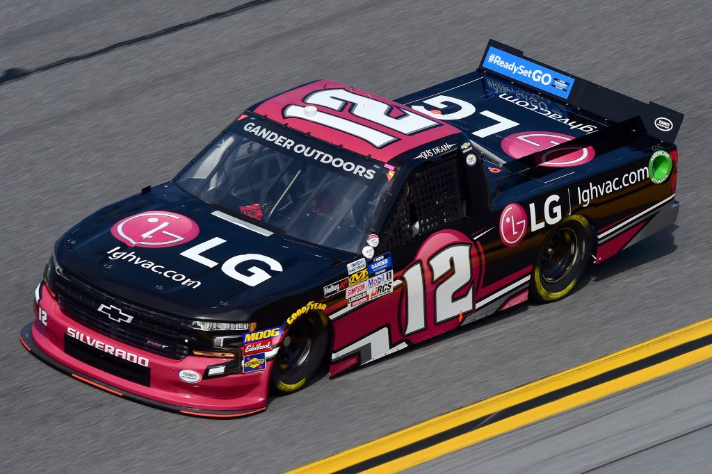 DAYTONA BEACH, FL - FEBRUARY 14: Gus Dean, driver of the #12 LG Air Conditioning Technologies Chevrolet, practices for the NASCAR Gander Outdoor Truck Series NextEra Energy 250 at Daytona International Speedway on February 14, 2019 in Daytona Beach, Florida. (Photo by Jared C. Tilton/Getty Images) | Getty Images