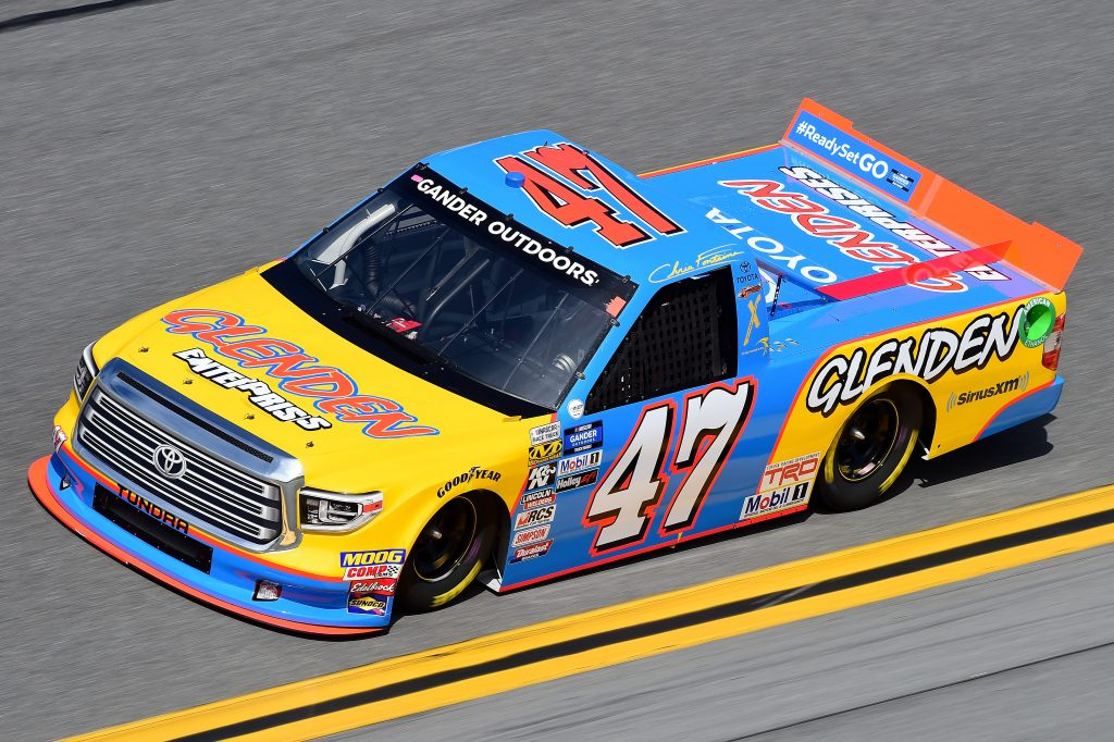 DAYTONA BEACH, FL - FEBRUARY 14:  Chris Fontaine, driver of the #47 Glenden Enterprises Toyota, practices for the NASCAR Gander Outdoor Truck Series NextEra Energy 250 at Daytona International Speedway on February 14, 2019 in Daytona Beach, Florida.  (Photo by Jared C. Tilton/Getty Images) | Getty Images
