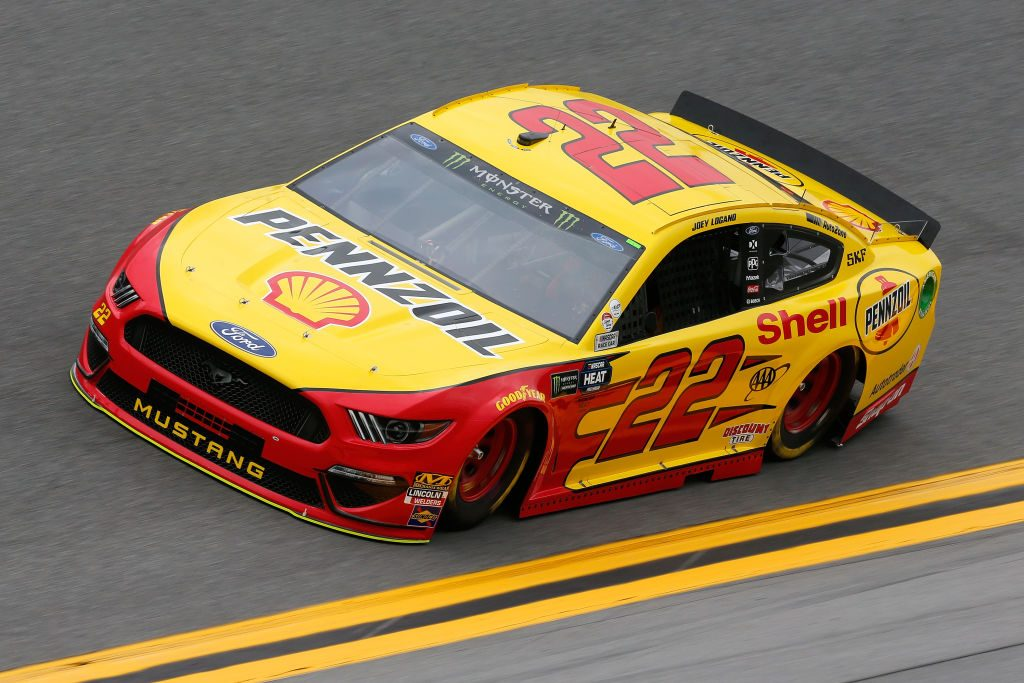 DAYTONA BEACH, FL - FEBRUARY 09: Joey Logano, driver of the #22 Shell Pennzoil Ford, drives during practice for the Monster Energy NASCAR Cup Series 61st Annual Daytona 500 at Daytona International Speedway on February 9, 2019 in Daytona Beach, Florida. (Photo by Jonathan Ferrey/Getty Images) | Getty Images