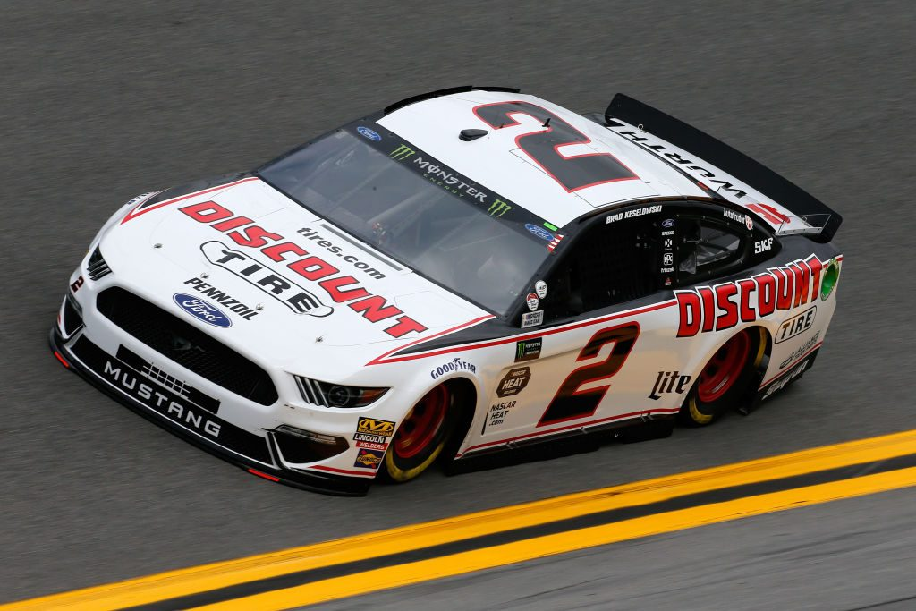 DAYTONA BEACH, FL - FEBRUARY 09: Brad Keselowski, driver of the #2 Discount Tire Ford, drives during practice for the Monster Energy NASCAR Cup Series 61st Annual Daytona 500 at Daytona International Speedway on February 9, 2019 in Daytona Beach, Florida. (Photo by Jonathan Ferrey/Getty Images) | Getty Images