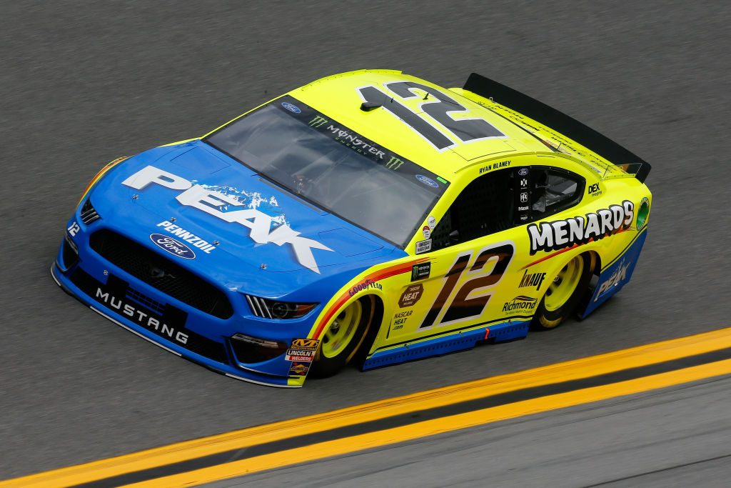 DAYTONA BEACH, FL - FEBRUARY 09: Ryan Blaney, driver of the #12 Menards/Peak Ford, drives during practice for the Monster Energy NASCAR Cup Series 61st Annual Daytona 500 at Daytona International Speedway on February 9, 2019 in Daytona Beach, Florida. (Photo by Jonathan Ferrey/Getty Images) | Getty Images