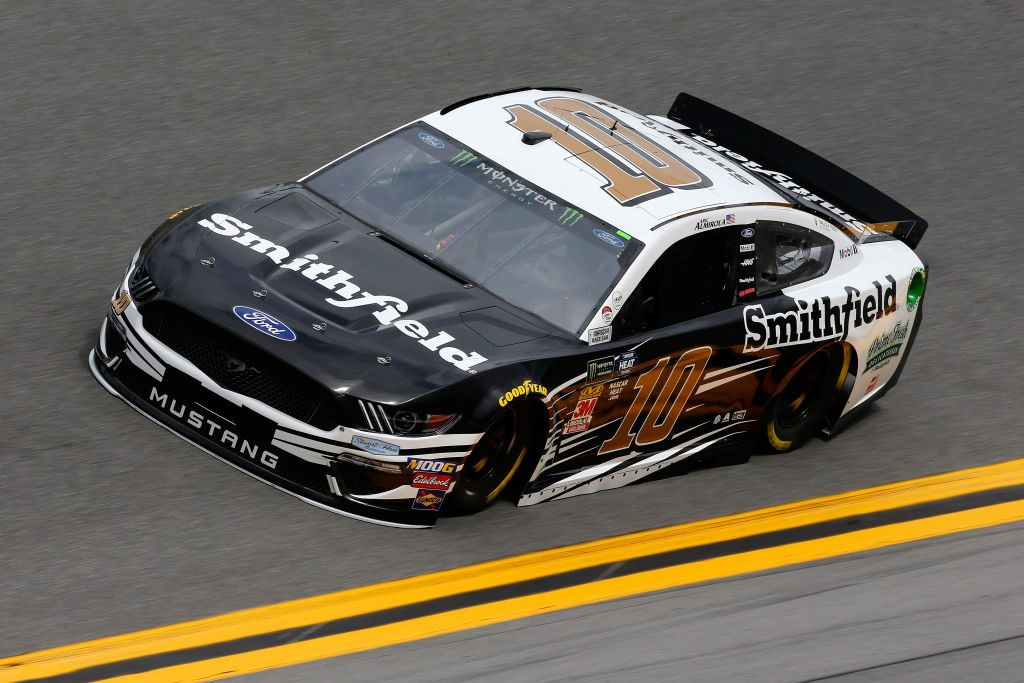 DAYTONA BEACH, FL - FEBRUARY 09: Aric Almirola, driver of the #10 Smithfield Ford, during practice for the Monster Energy NASCAR Cup Series 61st Annual Daytona 500 at Daytona International Speedway on February 9, 2019 in Daytona Beach, Florida. (Photo by Jonathan Ferrey/Getty Images) | Getty Images