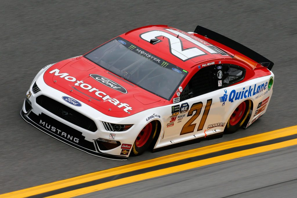 DAYTONA BEACH, FL - FEBRUARY 09: Paul Menard, driver of the #21 Motorcraft/Quick Lane Tire & Auto Center Ford, during practice for the Monster Energy NASCAR Cup Series 61st Annual Daytona 500 at Daytona International Speedway on February 9, 2019 in Daytona Beach, Florida. (Photo by Jonathan Ferrey/Getty Images) | Getty Images