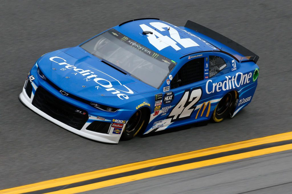 DAYTONA BEACH, FL - FEBRUARY 09: Kyle Larson, driver of the #42 Credit One Bank Chevrolet, during practice for the Monster Energy NASCAR Cup Series 61st Annual Daytona 500 at Daytona International Speedway on February 9, 2019 in Daytona Beach, Florida. (Photo by Jonathan Ferrey/Getty Images) | Getty Images