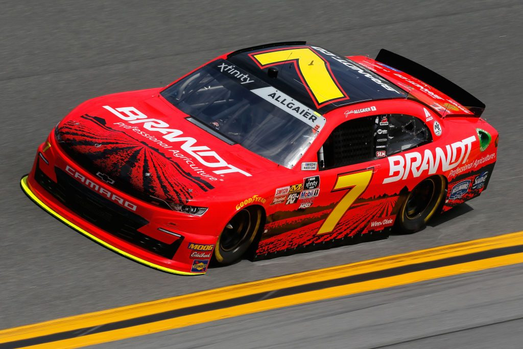 DAYTONA BEACH, FL - FEBRUARY 15: Justin Allgaier, driver of the #7 BRANDT Professional Agriculture Chevrolet, during practice for the NASCAR Xfinity Series NASCAR Racing Experience 300 at Daytona International Speedway on February 15, 2019 in Daytona Beach, Florida. (Photo by Jonathan Ferrey/Getty Images) | Getty Images
