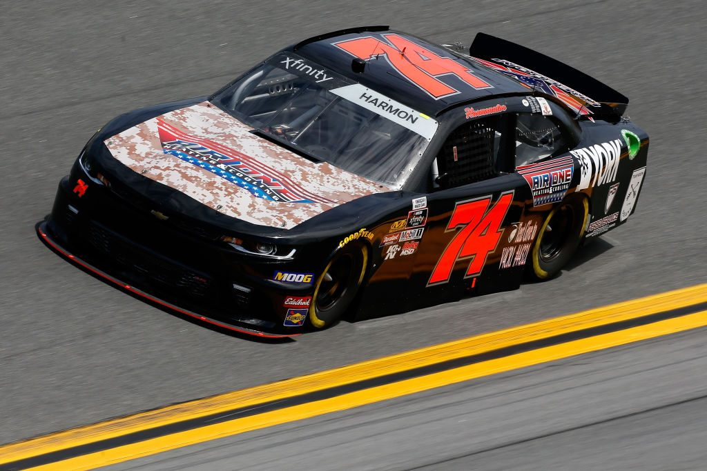 DAYTONA BEACH, FL - FEBRUARY 15: Mike Harmon, driver of the #74 AIR One Heating and Cooling Chevrolet, during practice for the NASCAR Xfinity Series NASCAR Racing Experience 300 at Daytona International Speedway on February 15, 2019 in Daytona Beach, Florida. (Photo by Jonathan Ferrey/Getty Images) | Getty Images