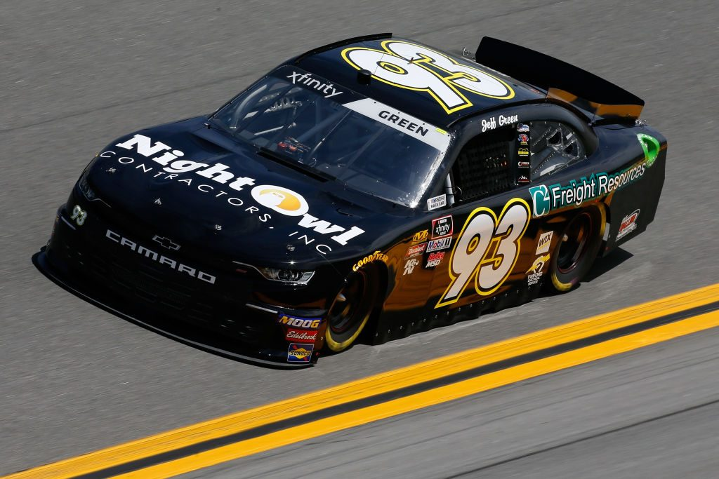 DAYTONA BEACH, FL - FEBRUARY 15: Jeff Green, driver of the #93 RSS Racing Chevrolet, during practice for the NASCAR Xfinity Series NASCAR Racing Experience 300 at Daytona International Speedway on February 15, 2019 in Daytona Beach, Florida. (Photo by Jonathan Ferrey/Getty Images)   Getty Images