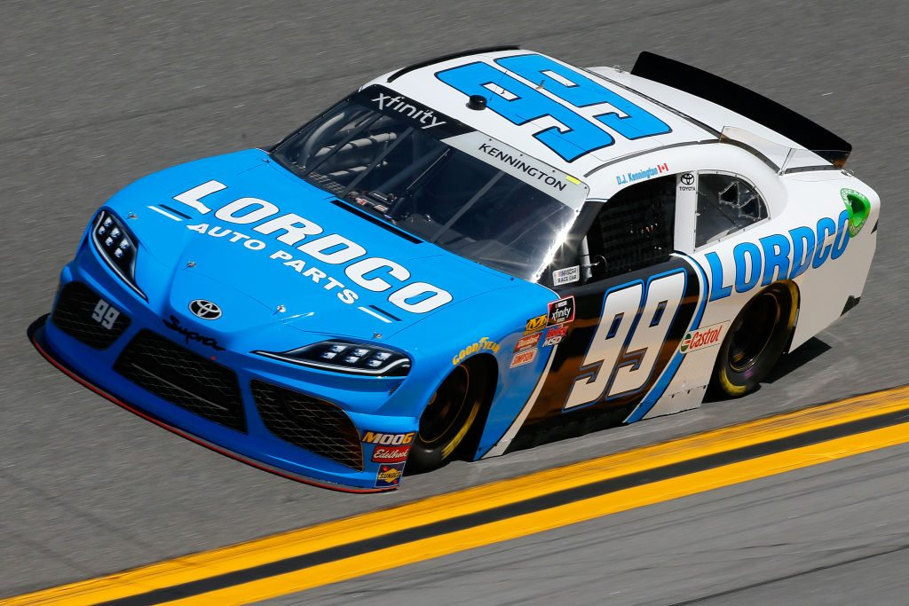 DAYTONA BEACH, FL - FEBRUARY 15: DJ Kennington, driver of the #99 LORDCO Auto Parts Toyota, during practice for the NASCAR Xfinity Series NASCAR Racing Experience 300 at Daytona International Speedway on February 15, 2019 in Daytona Beach, Florida. (Photo by Jonathan Ferrey/Getty Images) | Getty Images