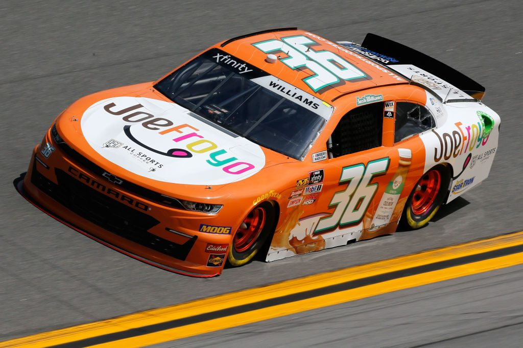 DAYTONA BEACH, FL - FEBRUARY 15: Josh Williams, driver of the #36 JoeFroyo/All Sports Coffee Chevrolet, during practice for the NASCAR Xfinity Series NASCAR Racing Experience 300 at Daytona International Speedway on February 15, 2019 in Daytona Beach, Florida. (Photo by Jonathan Ferrey/Getty Images) | Getty Images