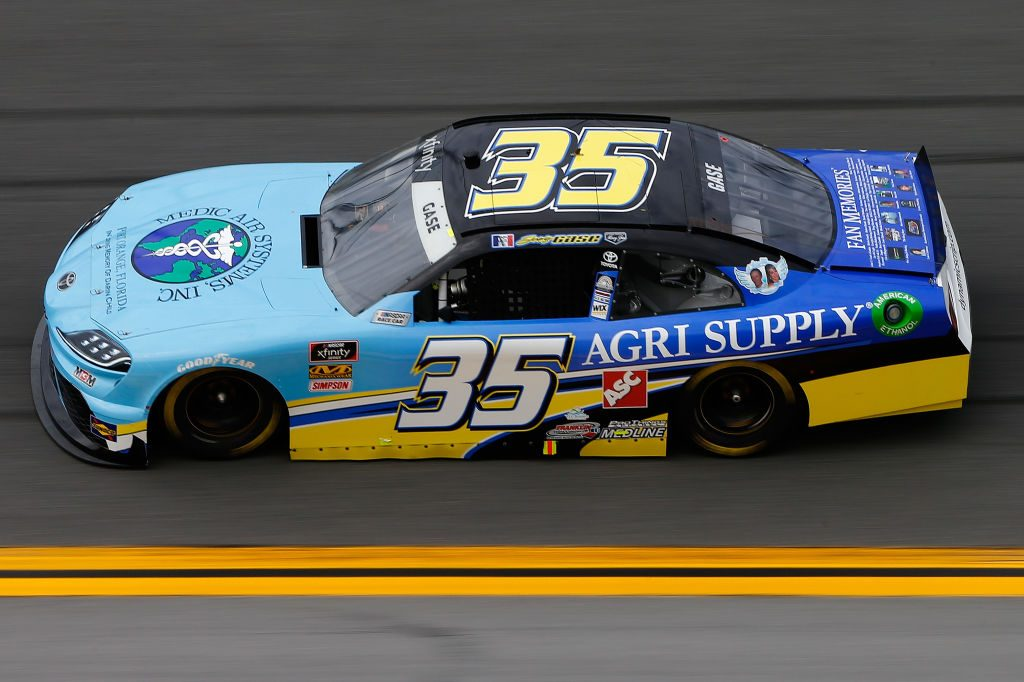 DAYTONA BEACH, FL - FEBRUARY 15:  Joey Gase, driver of the #35 Medic Air Systems Inc/AGRI Supply Toyota, during practice for the NASCAR Xfinity Series NASCAR Racing Experience 300 at Daytona International Speedway on February 15, 2019 in Daytona Beach, Florida.  (Photo by Jonathan Ferrey/Getty Images) | Getty Images