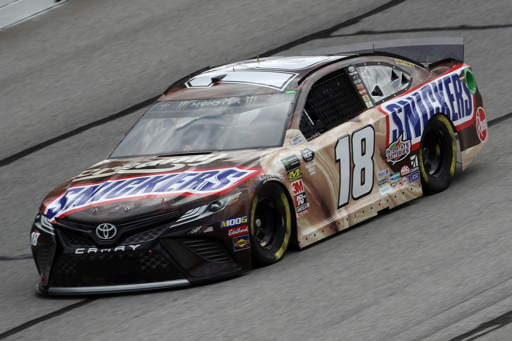 HAMPTON, GA - FEBRUARY 22: Kyle Busch, driver of the #18 Snickers Creamy Toyota, drives during practice for the Monster Energy NASCAR Cup Series Folds of Honor Quiktrip 500 at Atlanta Motor Speedway on February 22, 2019 in Hampton, Georgia. (Photo by Chris Graythen/Getty Images) | Getty Images
