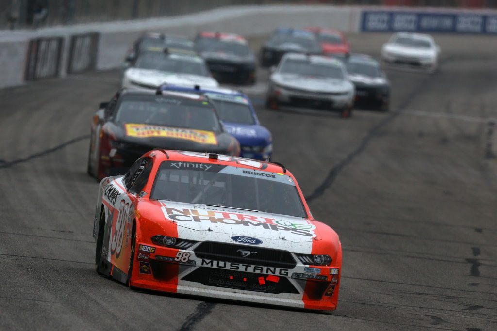 HAMPTON, GA - FEBRUARY 23: Chase Briscoe, driver of the #98 Nutri Chomps Ford, leads a pack of cars during the NASCAR Xfinity Series Rinnai 250 at Atlanta Motor Speedway on February 23, 2019 in Hampton, Georgia. (Photo by Sean Gardner/Getty Images) | Getty Images