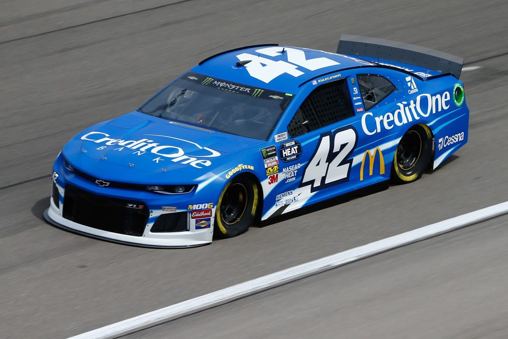 LAS VEGAS, NV - MARCH 01: Kyle Larson, driver of the #42 Credit One Bank Chevrolet, during practice for the Monster Energy NASCAR Cup Series Pennzoil 400 at Las Vegas Motor Speedway on March 1, 2019 in Las Vegas, Nevada. (Photo by Jonathan Ferrey/Getty Images) | Getty Images