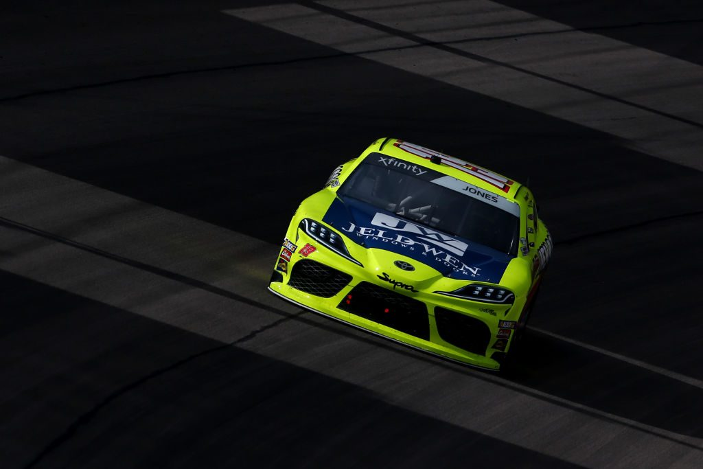 LAS VEGAS, NV - MARCH 02: Brandon Jones, driver of the #19 Menards/Jeld-Wen Toyota, races during the NASCAR Xfinty Series Boyd Gaming 300 at Las Vegas Motor Speedway on March 2, 2019 in Las Vegas, Nevada.  (Photo by Sarah Crabill/Getty Images) | Getty Images