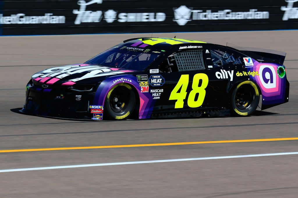 AVONDALE, AZ - MARCH 08: Jimmie Johnson, driver of the #48 Ally Chevrolet, practices for the Monster Energy NASCAR Cup Series TicketGuardian 500 at ISM Raceway on March 8, 2019 in Avondale, Arizona. (Photo by Daniel Shirey/Getty Images) | Getty Images