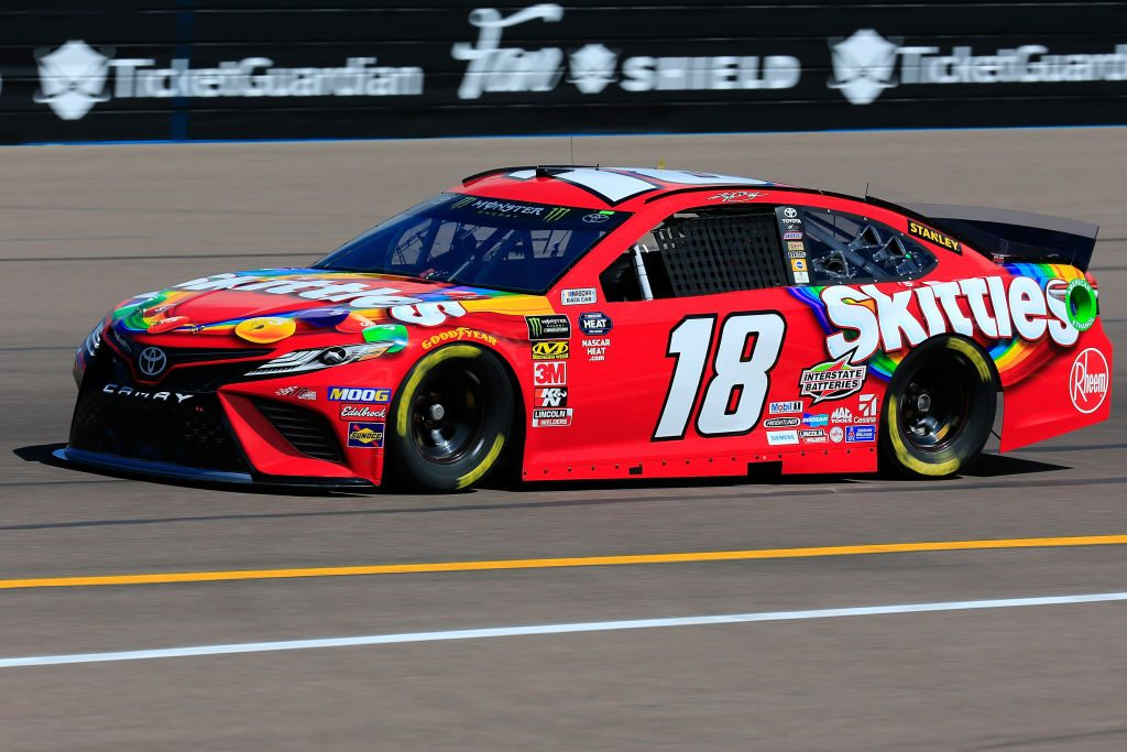 AVONDALE, AZ - MARCH 08: Kyle Busch, driver of the #18 Skittles Toyota, practices for the Monster Energy NASCAR Cup Series TicketGuardian 500 at ISM Raceway on March 8, 2019 in Avondale, Arizona. (Photo by Daniel Shirey/Getty Images) | Getty Images