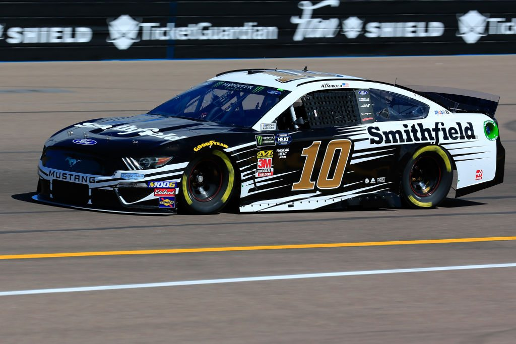 AVONDALE, AZ - MARCH 08: Aric Almirola, driver of the #10 Smithfield Ford, practices for the Monster Energy NASCAR Cup Series TicketGuardian 500 at ISM Raceway on March 8, 2019 in Avondale, Arizona. (Photo by Daniel Shirey/Getty Images) | Getty Images