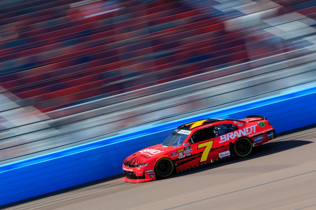 AVONDALE, AZ - MARCH 09: Justin Allgaier, driver of the #7 BRANDT Professional Agriculture Chevrolet, races during qualifying for the NASCAR XFINITY Series iK9 Service Dog 200 at ISM Raceway on March 9, 2019 in Avondale, Arizona. (Photo by Daniel Shirey/Getty Images) | Getty Images