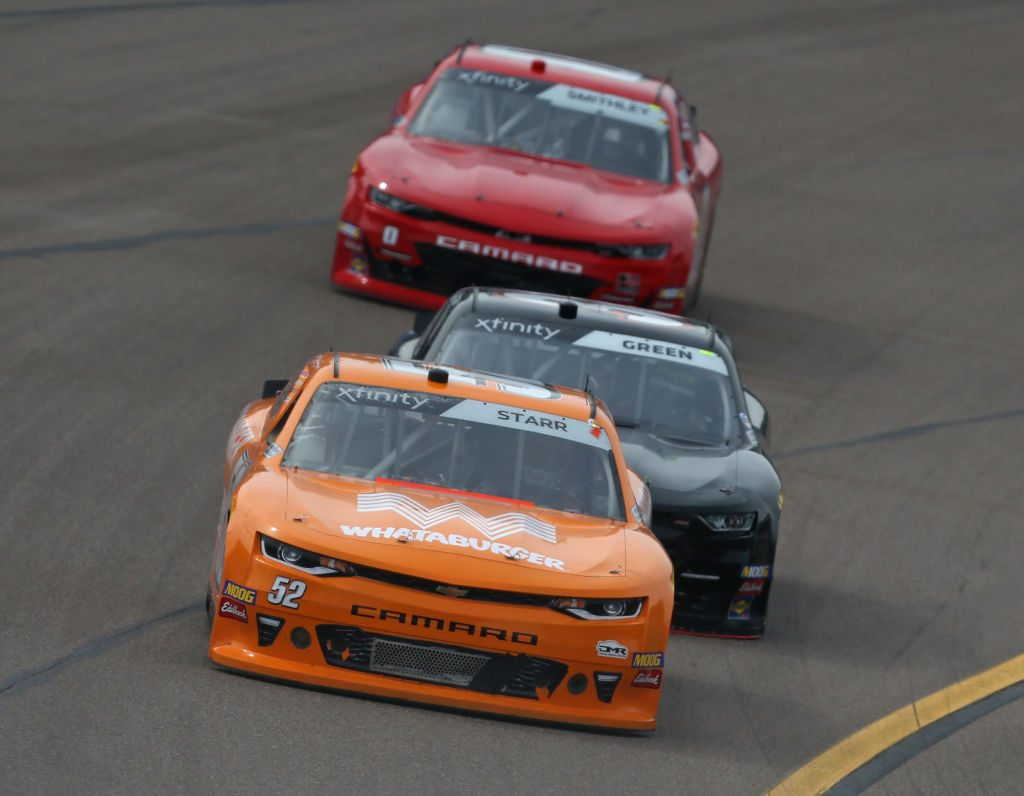 AVONDALE, AZ - MARCH 09: David Starr, driver of the #52 Whataburger Chevrolet, leads a pack of cars during the NASCAR Xfinity Series iK9 Service Dog 200 at ISM Raceway on March 9, 2019 in Avondale, Arizona. (Photo by Matt Sullivan/Getty Images) | Getty Images