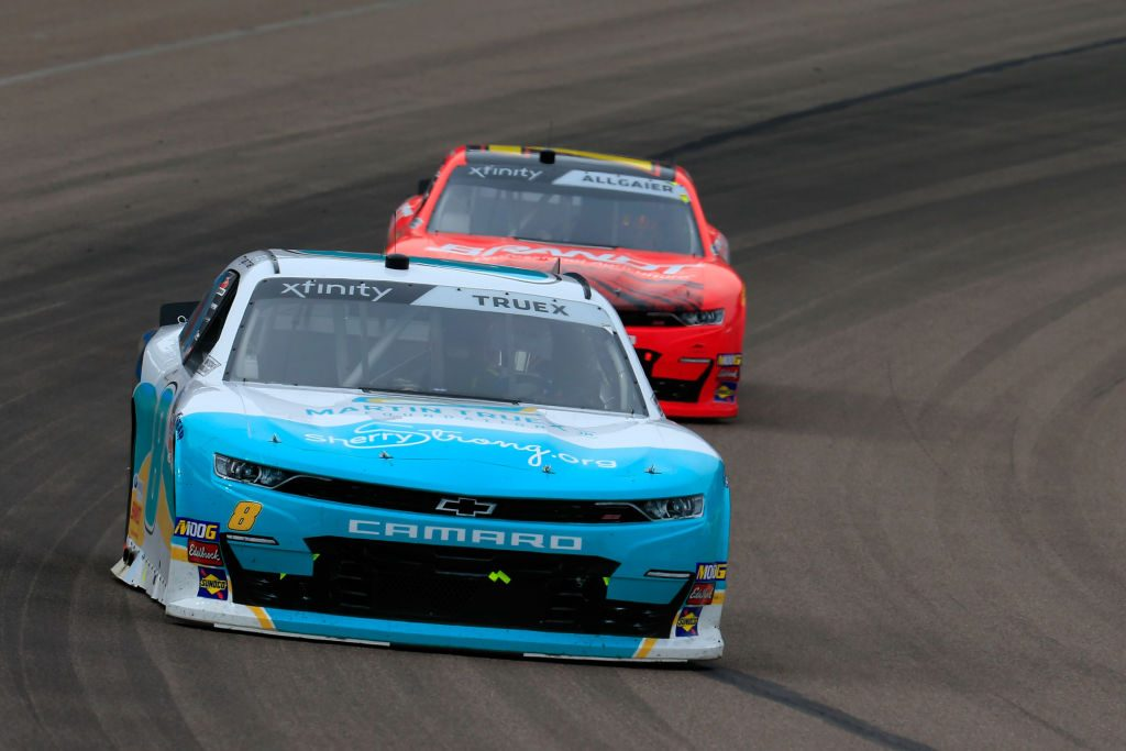 AVONDALE, AZ - MARCH 09: Ryan Truex, driver of the #8 MTJFdtn/SherryStrong/CtwlkfraCause Chev, leads a pack of cars during the NASCAR Xfinity Series iK9 Service Dog 200 at ISM Raceway on March 9, 2019 in Avondale, Arizona. (Photo by Daniel Shirey/Getty Images) | Getty Images