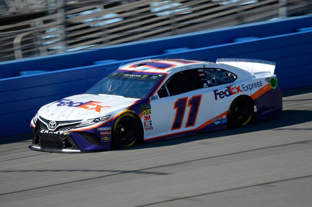 FONTANA, CA - MARCH 15: Denny Hamlin, driver of the #11 FedEx Express Toyota, practices for the Monster Energy NASCAR Cup Series Auto Club 400 at Auto Club Speedway on March 15, 2019 in Fontana, California. (Photo by Robert Laberge/Getty Images) | Getty Images