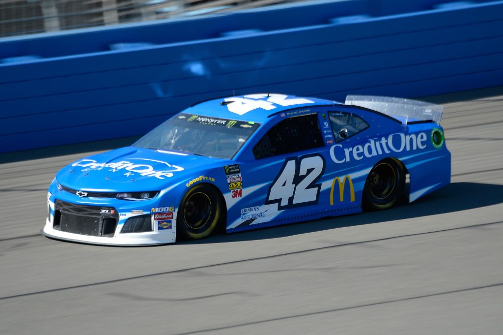 FONTANA, CA - MARCH 15: Kyle Larson, driver of the #42 Credit One Bank Chevrolet, practices for the Monster Energy NASCAR Cup Series Auto Club 400 at Auto Club Speedway on March 15, 2019 in Fontana, California. (Photo by Robert Laberge/Getty Images) | Getty Images