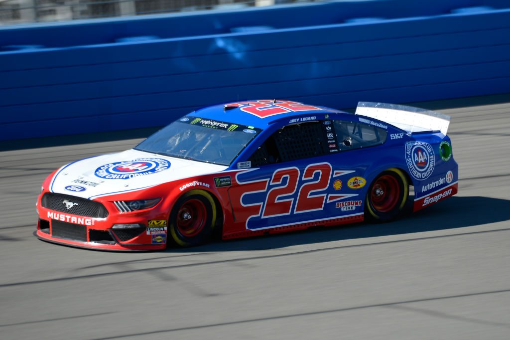 FONTANA, CA - MARCH 15: Joey Logano, driver of the #22 AAA Southern California Ford, practices for the Monster Energy NASCAR Cup Series Auto Club 400 at Auto Club Speedway on March 15, 2019 in Fontana, California. (Photo by Robert Laberge/Getty Images) | Getty Images