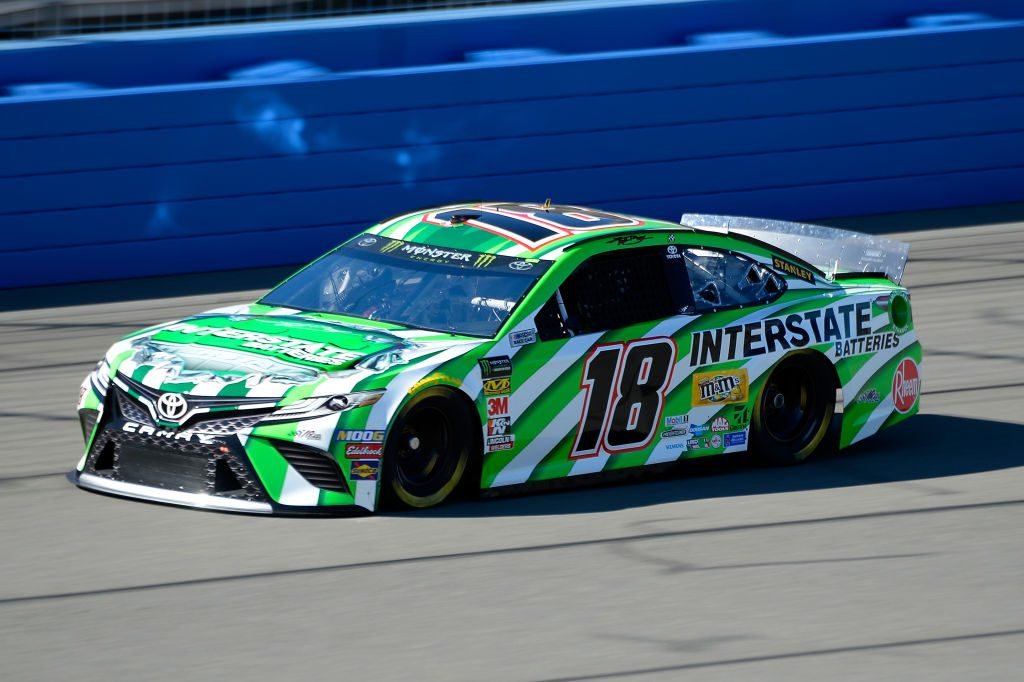 FONTANA, CA - MARCH 15: Kyle Busch, driver of the #18 Interstate Batteries Toyota, practices for the Monster Energy NASCAR Cup Series Auto Club 400 at Auto Club Speedway on March 15, 2019 in Fontana, California. (Photo by Robert Laberge/Getty Images) | Getty Images