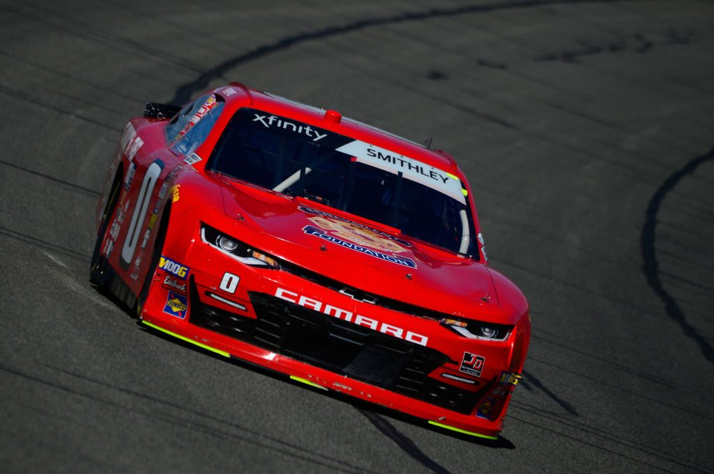 FONTANA, CA - MARCH 15:  Garrett Smithley, driver of the #0 teamjdmotorsports.com Chevrolet, during practice for the NASCAR Xfinity Series Production Alliance Group 300 at Auto Club Speedway on March 15, 2019 in Fontana, California.  (Photo by Robert Laberge/Getty Images)   Getty Images
