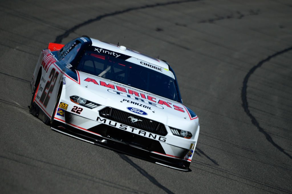 FONTANA, CA - MARCH 15: Austin Cindric, driver of the #22 America's Tire/Discount Tire Ford, during practice for the NASCAR Xfinity Series Production Alliance Group 300 at Auto Club Speedway on March 15, 2019 in Fontana, California. (Photo by Robert Laberge/Getty Images) | Getty Images
