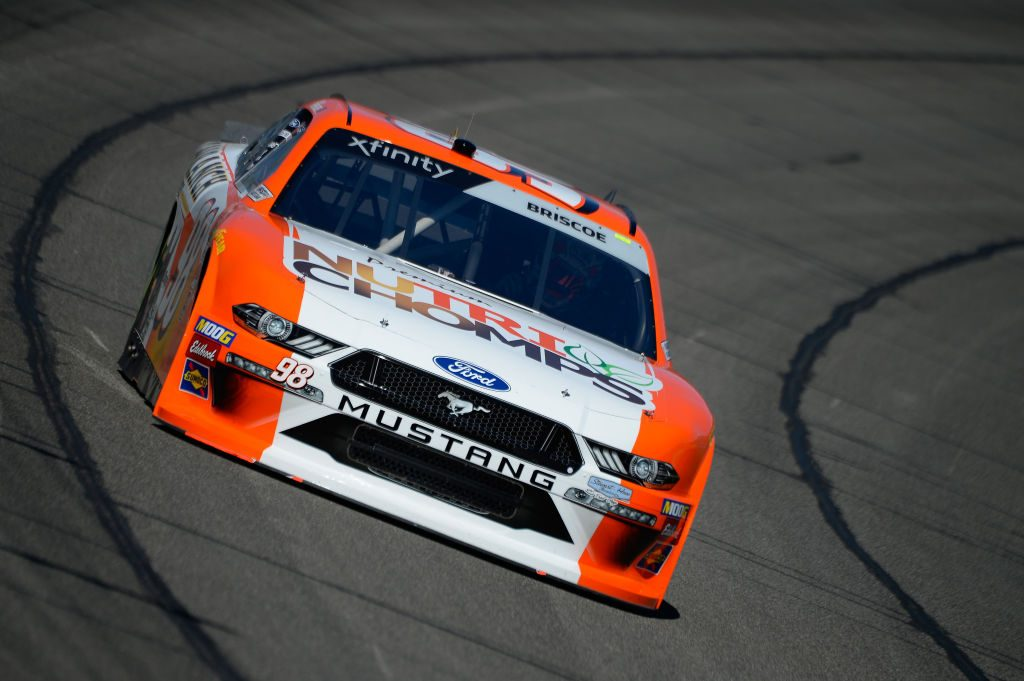 FONTANA, CA - MARCH 15: Chase Briscoe, driver of the #98 Nutri Chomps/C-A-L Ranch Ford, during practice for the NASCAR Xfinity Series Production Alliance Group 300 at Auto Club Speedway on March 15, 2019 in Fontana, California. (Photo by Robert Laberge/Getty Images) | Getty Images