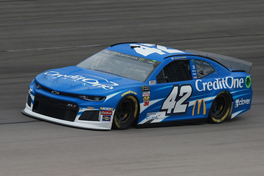 FORT WORTH, TX - MARCH 29: Kyle Larson, driver of the #42 Credit One Bank Chevrolet, practices for the Monster Energy NASCAR Cup Series O'Reilly Auto Parts 500 at Texas Motor Speedway on March 29, 2019 in Fort Worth, Texas. (Photo by Matt Sullivan/Getty Images) | Getty Images