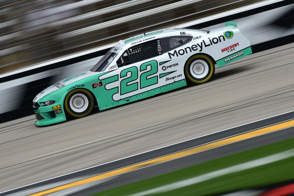 FORT WORTH, TX - MARCH 29: Austin Cindric, driver of the #22 MoneyLion Ford, drives during practice for the NASCAR Xfinity Series My Bariatric Solutions 300 at Texas Motor Speedway on March 29, 2019 in Fort Worth, Texas. (Photo by Jared C. Tilton/Getty Images) | Getty Images