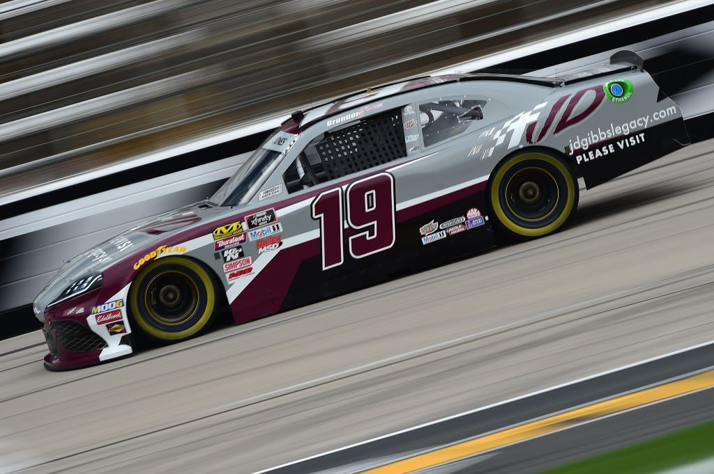 FORT WORTH, TX - MARCH 29:  Brandon Jones, driver of the #19 jdgibbslegacy.com Toyota, drives during practice for the NASCAR Xfinity Series My Bariatric Solutions 300 at Texas Motor Speedway on March 29, 2019 in Fort Worth, Texas.  (Photo by Jared C. Tilton/Getty Images) | Getty Images