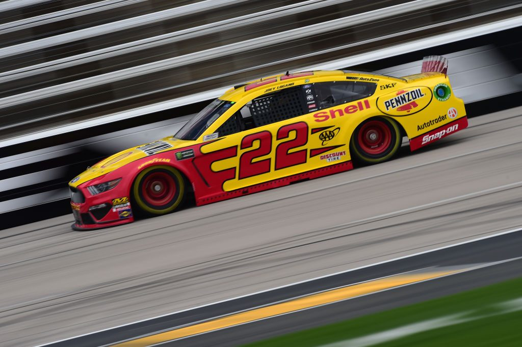 FORT WORTH, TX - MARCH 29: Joey Logano, driver of the #22 Shell Pennzoil Ford, drives during practice for the Monster Energy NASCAR Cup Series O'Reilly Auto Parts 500 at Texas Motor Speedway on March 29, 2019 in Fort Worth, Texas. (Photo by Jared C. Tilton/Getty Images) | Getty Images