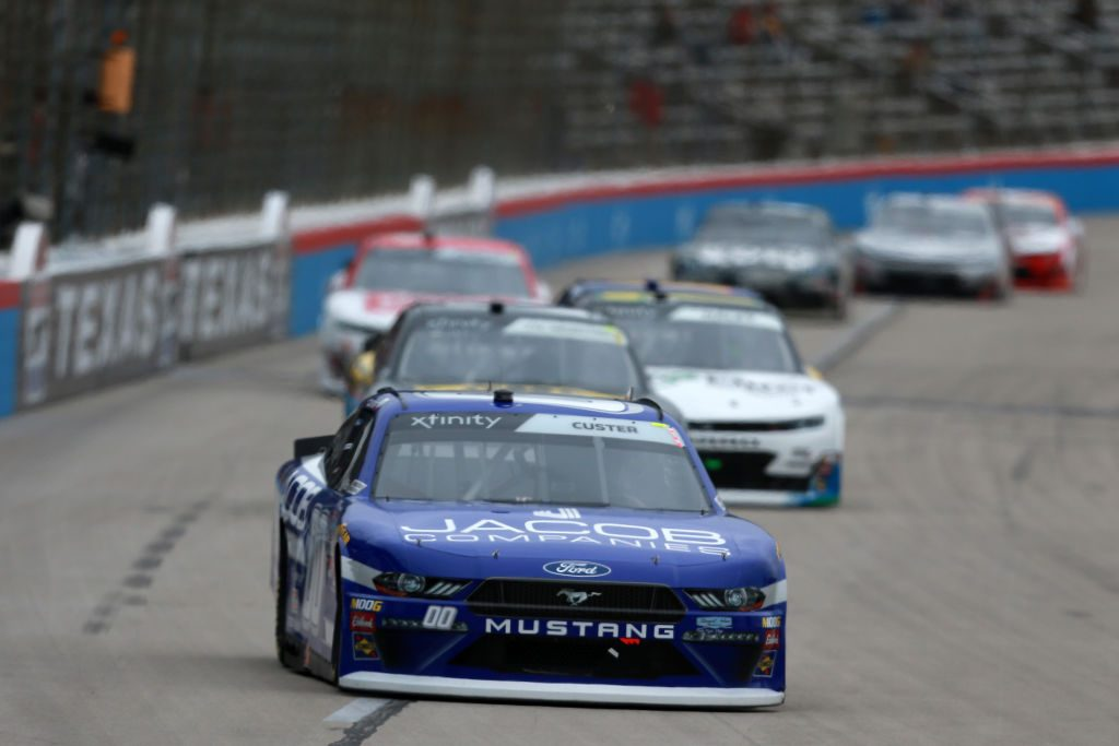 FORT WORTH, TX - MARCH 30: Cole Custer, driver of the #00 Jacob Companies Ford, leads a pack of cars during the NASCAR Xfinity Series My Bariatric Solutions 300 at Texas Motor Speedway on March 30, 2019 in Fort Worth, Texas. (Photo by Sean Gardner/Getty Images)   Getty Images