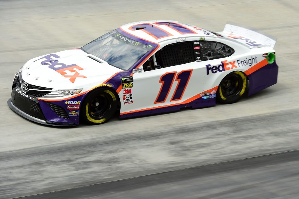 BRISTOL, TN - APRIL 05: Denny Hamlin, driver of the #11 FedEx Freight Toyota, practices for the Monster Energy NASCAR Cup Series Food City 500 at Bristol Motor Speedway on April 5, 2019 in Bristol, Tennessee. (Photo by Jared C. Tilton/Getty Images) | Getty Images