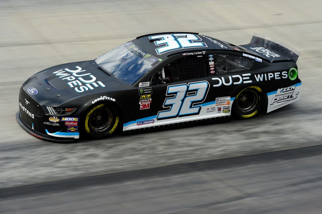 BRISTOL, TN - APRIL 05: Corey LaJoie, driver of the #32 DUDE Wipes Ford, practices for the Monster Energy NASCAR Cup Series Food City 500 at Bristol Motor Speedway on April 5, 2019 in Bristol, Tennessee. (Photo by Jared C. Tilton/Getty Images) | Getty Images