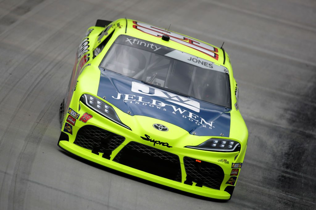 BRISTOL, TN - APRIL 05:  Brandon Jones, driver of the #19 Menards/Jeld-Wen Toyota, practices for the NASCAR Xfinity Series Alsco 300 at Bristol Motor Speedway on April 5, 2019 in Bristol, Tennessee.  (Photo by Donald Page/Getty Images) | Getty Images