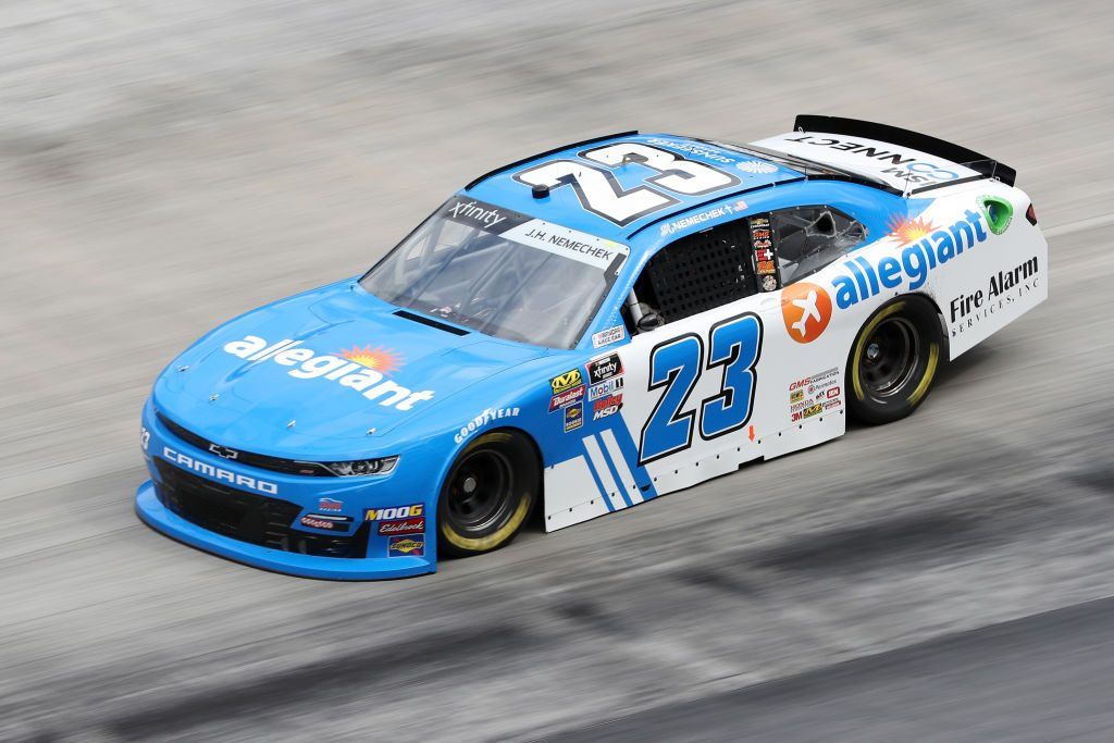 BRISTOL, TN - APRIL 05:  John Hunter Nemechek, driver of the #23 Allegiant Chevrolet, drives during practice for the NASCAR Xfinity Series Alsco 300 at Bristol Motor Speedway on April 5, 2019 in Bristol, Tennessee.  (Photo by Chris Graythen/Getty Images) | Getty Images
