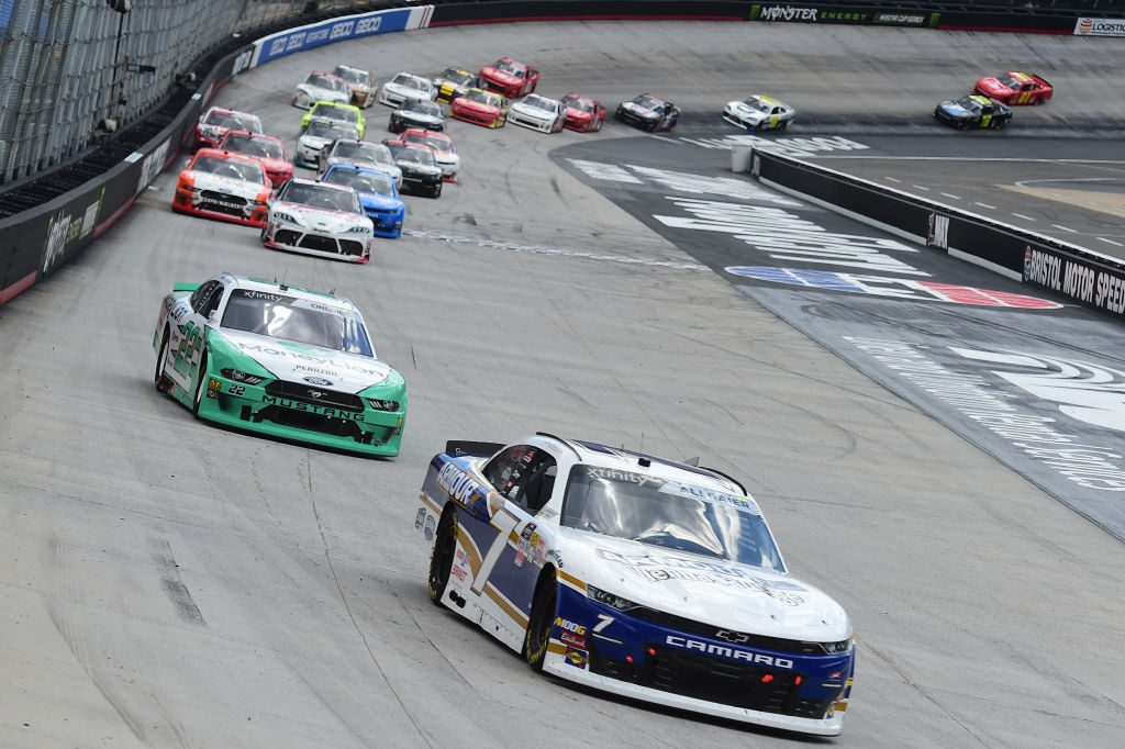 BRISTOL, TN - APRIL 06: Justin Allgaier, driver of the #7 ARMOUR Vienna Sausage Chevrolet, leads a pack of cars during the NASCAR Xfinity Series Alsco 300 at Bristol Motor Speedway on April 6, 2019 in Bristol, Tennessee. (Photo by Jared C. Tilton/Getty Images) | Getty Images