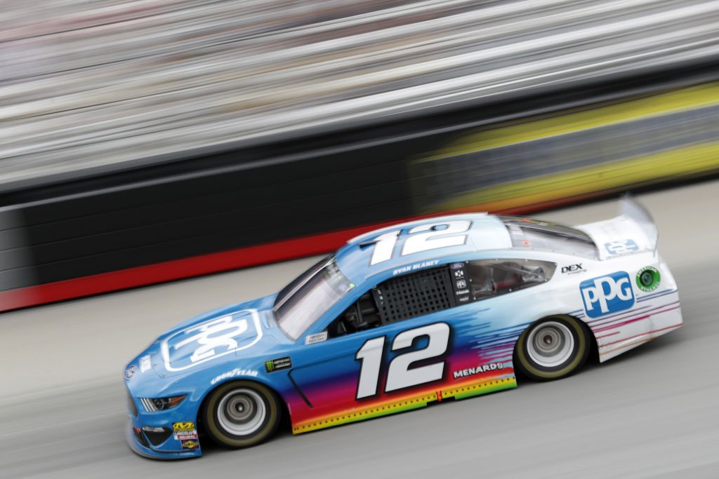 BRISTOL, TN - APRIL 07: Ryan Blaney, driver of the #12 PPG Ford, races during the Monster Energy NASCAR Cup Series Food City 500 at Bristol Motor Speedway on April 7, 2019 in Bristol, Tennessee. (Photo by Donald Page/Getty Images) | Getty Images