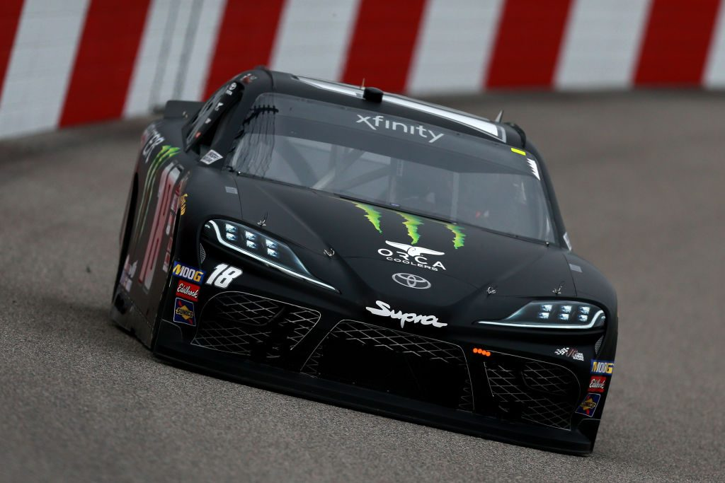 RICHMOND, VA - APRIL 12: Riley Herbst, driver of the #18 Monster Energy Toyota, practices for the NASCAR Xfinity Series ToyotaCare 250 at Richmond Raceway on April 12, 2019 in Richmond, Virginia. (Photo by Sean Gardner/Getty Images) | Getty Images