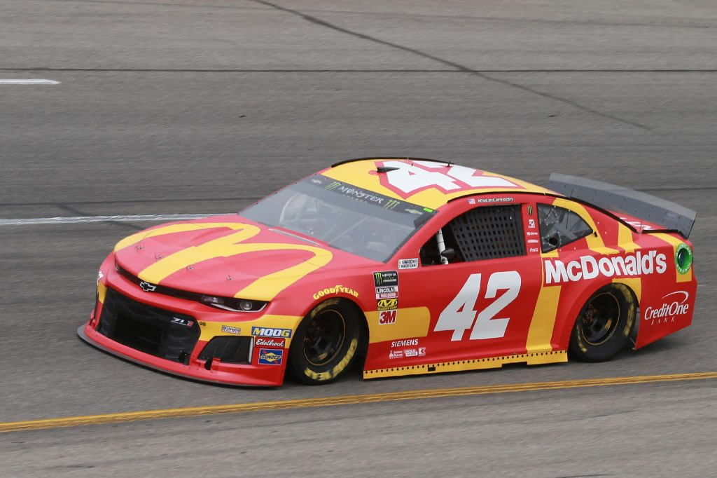 RICHMOND, VA - APRIL 12: Kyle Larson, driver of the #42 McDonald's Chevrolet, drives during practice for the Monster Energy NASCAR Cup Series Toyota Owners 400 at Richmond Raceway on April 12, 2019 in Richmond, Virginia. (Photo by Matt Sullivan/Getty Images) | Getty Images
