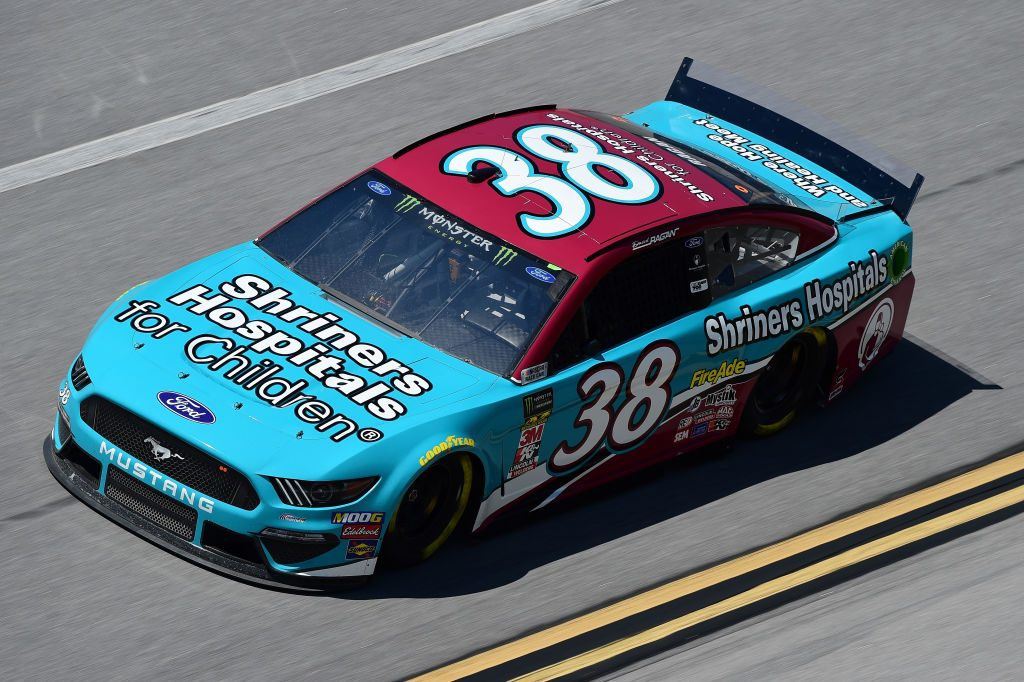 TALLADEGA, AL - APRIL 26: David Ragan, driver of the #38 Shriners Hospital for Children Ford, practices for the Monster Energy NASCAR Cup Series GEICO 500 at Talladega Superspeedway on April 26, 2019 in Talladega, Alabama. (Photo by Jared C. Tilton/Getty Images) | Getty Images